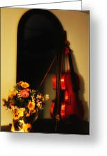 Flowers And Violin Greeting Card
