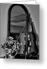Flowers And Violin In Black And White Greeting Card