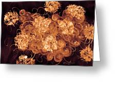 Flowers, Buttons And Ribbons -shades Of  Chocolate Mocha Greeting Card