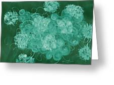 Flowers, Buttons And Ribbons -shades Of Green Greeting Card