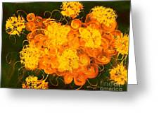 Flowers, Buttons And Ribbons -shades Of Orange/yellow  Greeting Card
