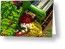 Flowers By Green Bench Greeting Card
