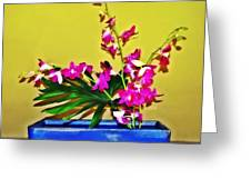 Flowers In A Blue Dish - Japanese House Greeting Card
