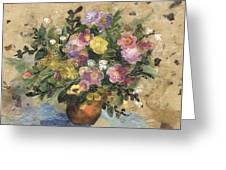 Flowers In A Clay Vase Greeting Card