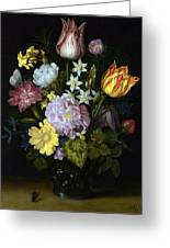 Flowers In A Glass Vase Greeting Card
