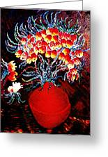 Flowers In A Red Vase Greeting Card