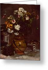 Flowers In A Vase And A Glass Of Champagne Greeting Card