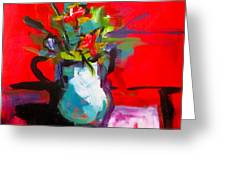Flowers In Blue Green Pitcher Greeting Card