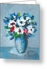 Flowers In Blue Vase Greeting Card