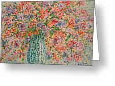 Flowers In Crystal Vase. Greeting Card