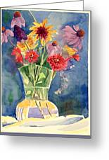 Flowers In Glass Vase Greeting Card