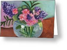 Flowers In Round Glass Vase Greeting Card