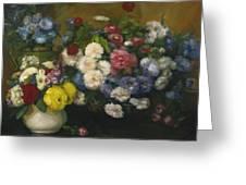 Flowers In Three Vases 1879 Greeting Card