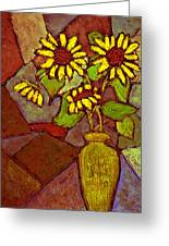 Flowers In Vase Altered Greeting Card