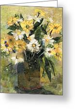 Flowers In White And Yellow Greeting Card