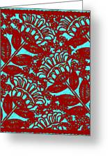 Flowers Indigo Red And Blue Greeting Card
