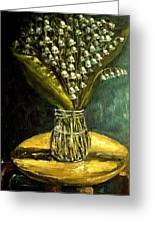 Flowers Lily Of The Valley  Still Life Oil Painting Greeting Card