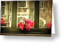 Flowers On A Ledge Greeting Card