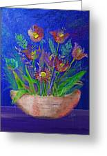 Flowers On Blue Greeting Card
