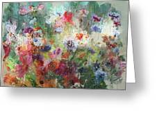 Flowers On Canvas Greeting Card