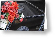 Flowers On Gondola In Venice Greeting Card