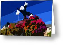 Flowers On Lamppost Greeting Card