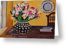 Flowers On The Desk Greeting Card