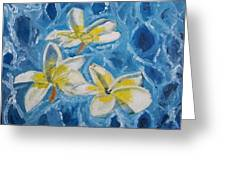 Flowers On Water Ripples Greeting Card