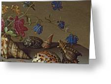 Flowers, Shells And Insects On A Stone Ledge Greeting Card