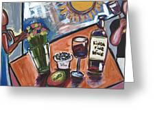 Flowers Wine N Sunshine Greeting Card
