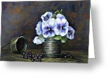 Flowers,pansies Still Life Greeting Card by Katalin Luczay