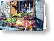 Flowery Window Of France Greeting Card