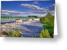 Flowing River And Bridge Greeting Card by Connie Cooper-Edwards