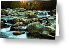 Flowing River On Greenbrier Cove Road Smoky Mountains National P Greeting Card