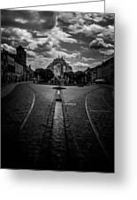 Flowing Street Of Kosice Greeting Card