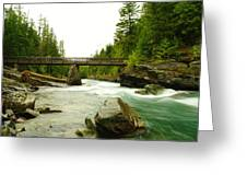 Flowing Under The Walkbridge Greeting Card