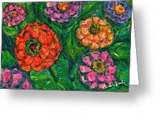 Flowing Zinnias Greeting Card