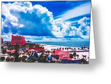 Fluffy Clouds Over Clearwater Beach Greeting Card