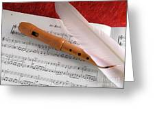 Flute And Feather Greeting Card by Carlos Caetano