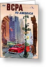 Fly Bcpa To America Vintage Poster Restored Greeting Card