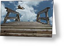 Fly By At The Beach - Brown Pelican And Rustic Stairs Greeting Card