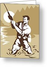 Fly Fisherman Casting Greeting Card