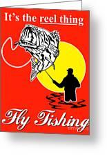 Fly Fisherman Catching Largemouth Bass Greeting Card