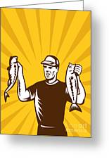 Fly Fisherman Holding Bass Fish Catch Greeting Card