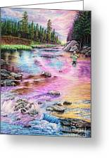 Fly Fishing In River At Sunrise Greeting Card