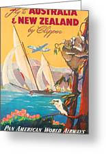 Fly To Australia And New Zealand, Airline Poster Greeting Card