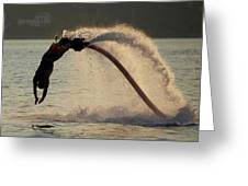 Flyboarder About To Enter Water With Hands Greeting Card