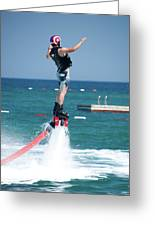Flyboarder Falling Backwards Next To Swimming Platform Greeting Card