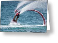 Flyboarder In Red Entering Water With Spray Greeting Card