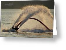 Flyboarder Only Showing Feet After Semi-circular Dive Greeting Card